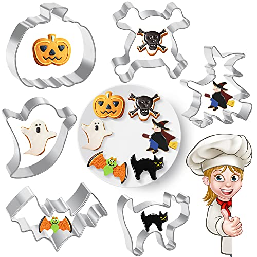 Halloween Cookie Cutters Baking Shapes - 6 Pieces Fall Holiday Stainless Steel Mini Cookie Cutters Halloween Goodie Bag Fillers for Kids Trick or Treat Halloween Food Molds Party Favor Decorations