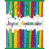 Unique Party - Gobelet Joyeux Anniversaire - 8 pièces - 270 ml - Rainbow Ribbon