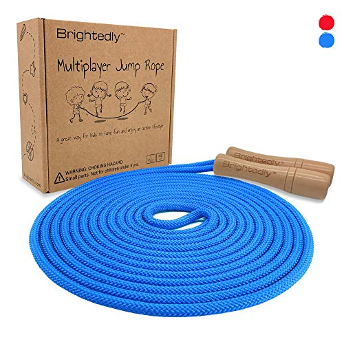 Brightedly 16 FT Long Jump Rope for Kids, Multiplayer, Adjustable | Classic Look Wooden Handle | Durable Kids Jumping Rope, Skipping Rope, Outdoor Fun, Great as a Gift, Party Game, Party Favor - Blue