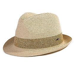 Comhats Strohhut Panamahut Sonnenhut Fedora Hut Handgemacht Herren beige L