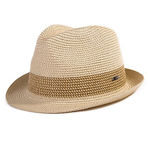 Comhats Strohhut Panamahut Sonnenhut Fedora Hut Handgemacht Herren Beige XL