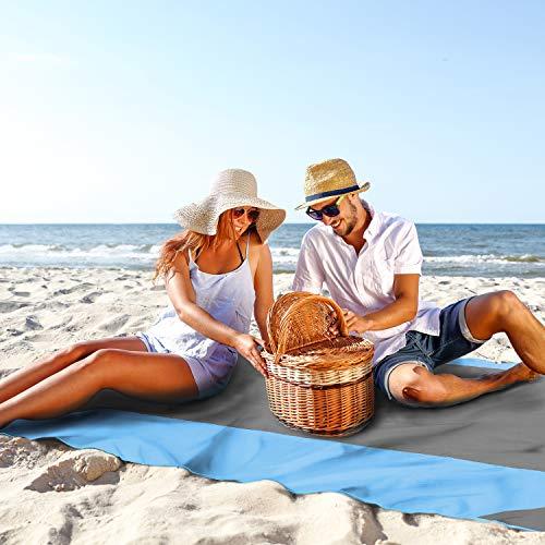 Grand tapis de pique-nique imperméable et facile à transporter 210 x 200 cm. Bâche de camping pour extérieur. Tapis de plage de poche pour activités d'extérieur et d'extérieur.