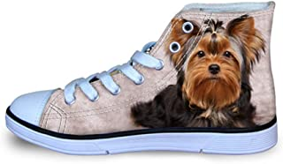 Instantarts Yorkie Sneakers Lace up High Top Shoes for Child Girl Boy Student