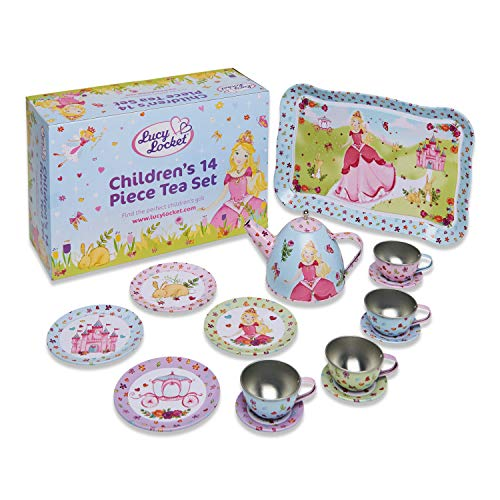 Lucy Locket - Set da tè in Metallo per Bambini con Principessa - Set da tè Giocattolo da 14 Pezzi per Bambine e Bambini - Set da tè Giocattolo per Bambini
