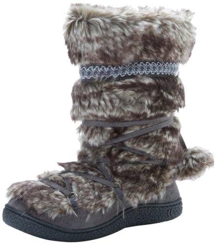 Isotoner Women's Tall Fur Lace-Up Pom Slipper Boot, Gunmetal, 8.5/9