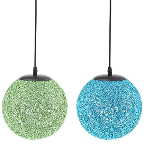 NewbieBoom 2Count Handmade Rattan Wicker Green Blue Ball Pendant Lampshade Loft Chandelier Ceiling Lamp, 20cm,1