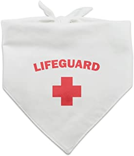 Lifeguard Red and White Dog Pet Bandana - White