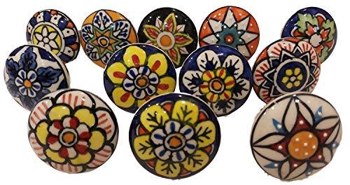 Knobsworld 004 - Set di 12 pomelli in ceramica a forma di fiore, stile vintage