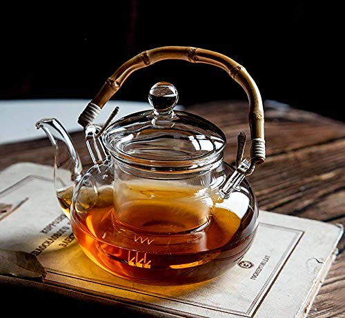 Glas Teekanne Teekanne mit Bambusgriff Filter Teekanne Kessel Gesundheit Hitzebeständiges Set Bubble Teekannen Hochtemperatur-Teekanne Kocher600ml, für Zuhause, Büro, Outdoor