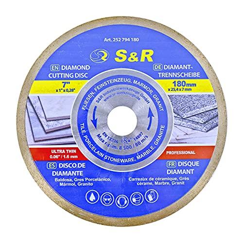 S&R Diamanttrennscheibe 180 x 25,4 x 7 mm (1,6 mm extra dünn), Trennscheibe für sauberes Trennen von Fliesen, Porzellan, Keramik, Feinsteinzeug, Granit, Marmor, für Tischsäge, Fliesenschneidmaschine