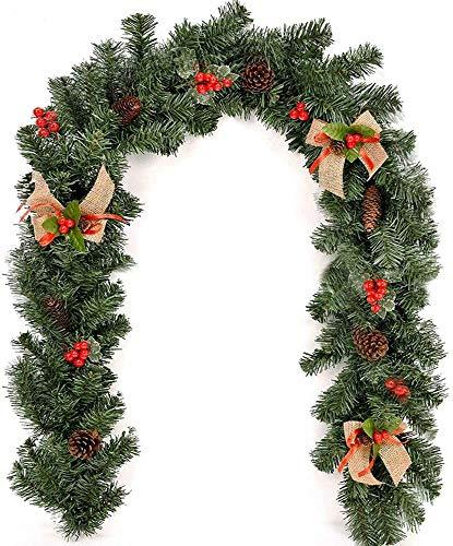 1.8 M Weihnachtsgirlande mit Beleuchtung Lichterkette, Weihnachtsdeko Künstliche Tannengirlande Beeren Zapfen Geschmückt Weihnachten Dekoriert für Kamine Treppen Wand Tür