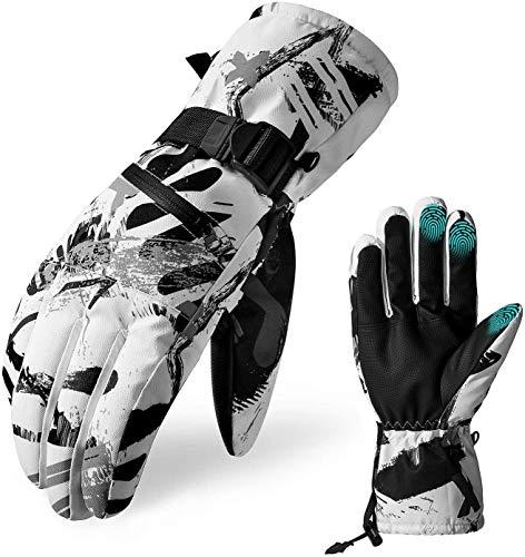 Wuudi Ski Handschoenen Mannen Winter Handschoenen Motorhandschoenen voor Mannen Grote Graffiti Handschoenen Touchscreen Ontwerp Waterdicht