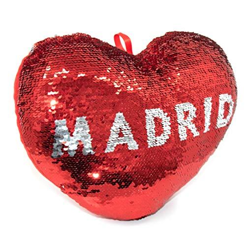 APEX GIFTS - Cojín con Forma de corazón de Lentejuelas y Reversible - El corazón de Madrid