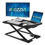 Bigzzia Height Adjustable Stand Desk Riser, Sit Standing Converter Stand Up Desk Tabletop...