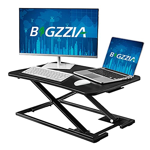 Bigzzia Standing Desk Converter, Height Adjustable Sit Stand Desk Riser Stand Up Desk Converter...