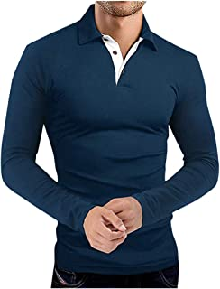 SPE969 Men's Turndown Neck Shirt,Winter Long Sleeve Pullover T Shirt Top Tee Outwear Blouse