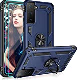 Suordii for Samsung Galaxy S21 Plus 5G Case with Tempered Glass Screen Protector[2 Pack], Kickstand Ring Heavy Duty Defender Armor Military Grade Phone Cover for Samsung S21 Plus - Blue