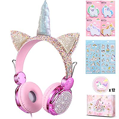 Charlxee Unicorn Kids Headphones with Microphon...