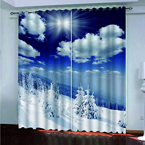 CLMYDM Cortina Opaca Impresión de Nieve Adecuado para Dormitorio Sala de Estar Habitación Infantil Cortinas Opacas 2 Paneles 75 x 166 cm