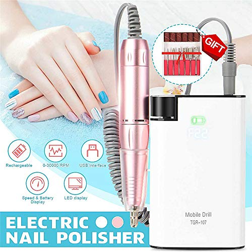 Professionele 30000RPM Nagel Boormachine, Elektrische Nagelvijl Machine Pedicure Manicure Set voor het verwijderen van Polish/Gel/Nagelriemen op Nagels, Trimmen en Verdunnen van Nagels,White