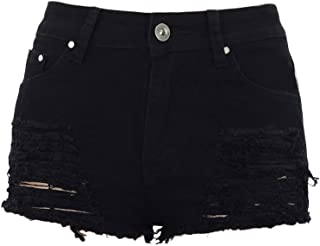 Aodrusa Womens Ripped Denim Shorts Mid Waist Sexy Short Cutoff Distressed