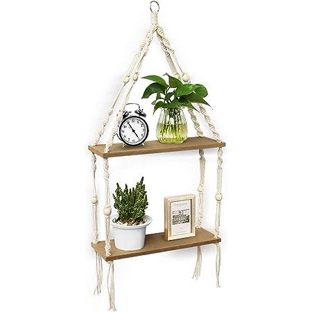 Lamtor 2-tier Hanging Shelf Macrame Floating Shelf Wall Mounted Shelf Perfect For Living Room Bedroom Kitchen Bathroom