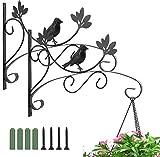 Luxspire Support Plante Mural Balcon [2 Pièces], Crochet de Suspension en Forme d'Oiseau avec Vis, Support de Décoration d'Extérieur pour Fleurs Lanterne Carillons Éoliens - Peinture Noir