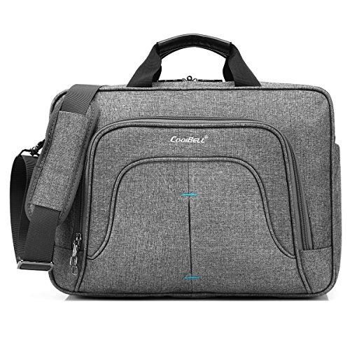 CoolBell Multi-Fach Aktentasche Messenger Bag Notebook Schultertasche Business Briefcase Nylon Umhängetasche 15,6 Zoll Laptop Computer Tasche für Laptop/MacBook/Männer/Frauen (Grau)