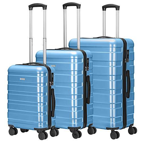 Amasava Set of Tres Maletas,Juego de Maletas Rígidas,Candado TSA,43L/65L/101L,ABS+PC,4 Ruedas multidireccional,Azul