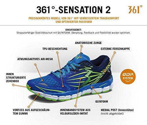 361° Herren Laufschuh / Running Schuh / Stabilitätsschuh Sensation 2, sapphire/gecko, Gr. 46 (US 11.5/CM 29), blau, Y701-6891