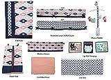 Bacati Aztec Emma Unisex 10 Piece Crib Bedding Set, Coral/Mint/Navy