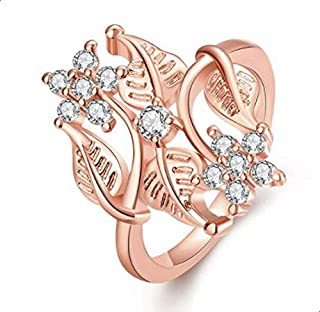 Ring for women with golden and zircon roses size 8