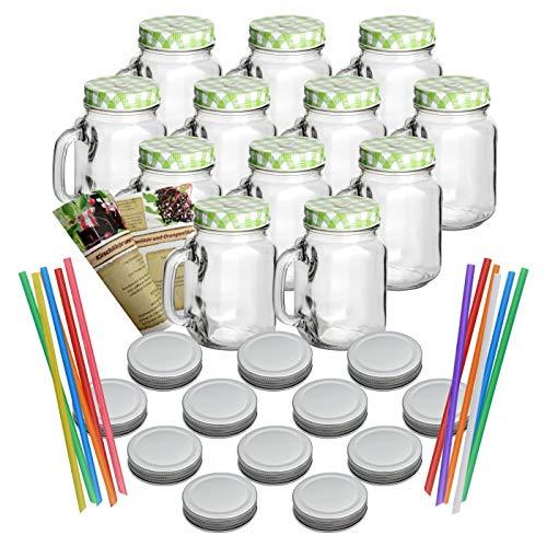 gouveo 12er Set Leere Trinkgläser 450 ml incl. Drehverschluss Grün, Silber und Strohhalm, Henkelgläser, Gläser mit Griff incl. Flaschendiscount-Rezeptbroschüre