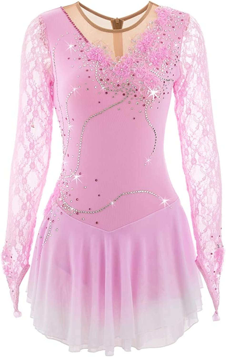 YunNR Girls' Figure Skating Dress Performance Costume Lace Sleeve Women's Ice Skating Dress Spandex High Elasticity Rhinestone Sequin Competition Skating Costume