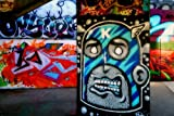 Graffiti eine 45,7 x 30,5 cm Fotografieren Fotodruck Street Art Kunstwerk Graffiti Wandbild Southbank Skate Park London England UK Landschaft Foto Farbe Bild