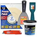 Drywall Repair Kit,Includes 4 in Round DAP Presto Patch, Alex Flex Flexible Spackling(1pt), Retractable Utility Knife,4 in Flex Steel Tape Knife,2 in Plastic Tape Knife,Bonus Sandbar Included