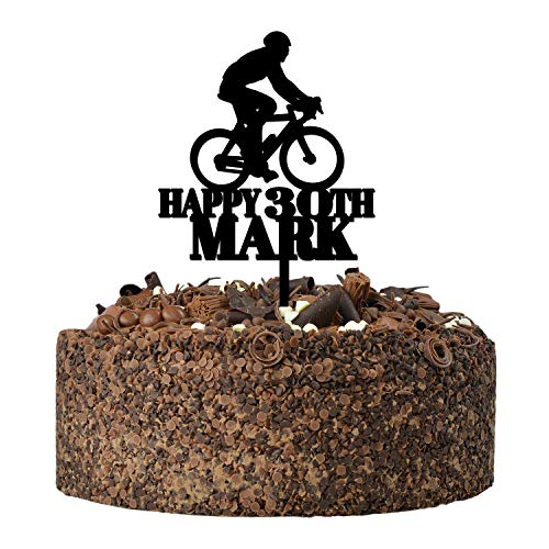 Happy Birthday Bicycle Cycling Cake Topper Decoration - PERSONALISED Mountain Bike ANY Age ANY Name Cake Toppers for Him, Son, Boys, Dad, Grandad, Kids - Gold Silver Black Wood Cake Decoration