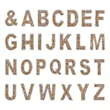 FINGERINSPIRE A-Z Bling Rhinestone Letter Patches 27Pcs Glitter Gold Hotfix Alphabet Rhinestone Sheet(Letter Height: 2.5mm) for Applique Costume Accessories DIY Craft Patch Clothes Decoration
