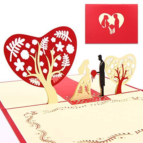 Urdays 2er Set 3D Pop Up Hochzeitskarten Brautpaar | besondere Glückwunschkarte zur Trauung, Verlobung | 3D Motivkarte inklusive Umschlag | aufwendige Handarbeit