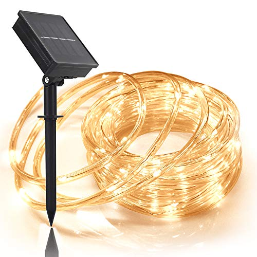Solar Rope Light 33FT 100L Waterproof Outdoor String Tube Light for Party Garden Yard Home Decreation (Warm White 33FT 100L)