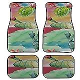 Yushg 4 pièces Tapis de Sol colorés de Voiture Tapis de Voiture de Cactus Tropical d'été Vert Avant