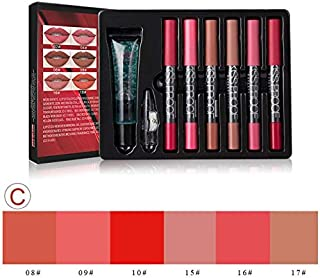 Make up set 6 kiss proof Lipstick & Pencil sharpener & remover Cosmetic combination Waterproof Lip make up (C)
