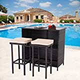 HTTH Bar Furniture Rattan Bar Table 3 Pieces Patio Bar Set Brown Flat Rattan Bar Stool and Backyard Garden Dining Table and Chairs with 2 Storage Racks and 5cm Cushions Bar Furniture (Brown)