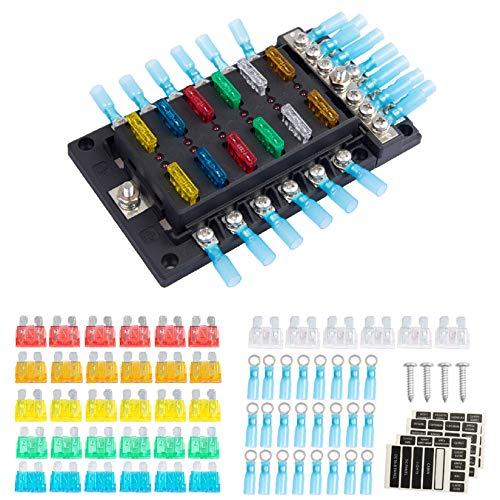 Fuse Block, 12 Way Marine Fuse Box for 12V/24V Automotive Car Marine Boat RV, 12 Circuit ATP/ATC/ATO W/Negative Bus with Indicator Waterpoof Cover