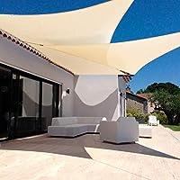 ベージュホワイト長方形の日よけの天蓋付き軽量防水シェードクロスDリングとロープ、18サイズ