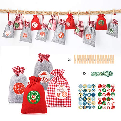 Aitsite 24Pz Borsa Calendario dell'avvento Sacchetti Natalizi Dolci Babbo Natale, Bag, 24 Sacchetti Stoffa + 48 Adesivi Carta + 24 Mini Fermagli Legno + 1 Corde Iuta (10m)