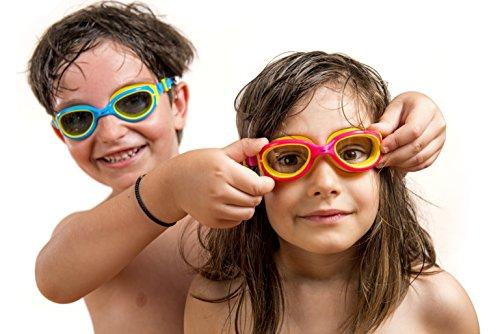 AqtivAqua Schwimmbrille Kinder JR Kinderschwimmbrille Schwimmbrillen für Kinder 3 4 6 8 10 Jahre (Rosa/Gelb)