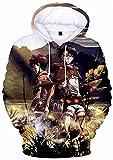 Attack on Titan Sudadera con capucha impresa 3D Anime Shingeki no Kyojin Pullover Sudaderas Eren Mikasa Legion Scoutin Manga Larga Cosplay Tops, 19 Sny 3d Sudadera con capucha, XXL