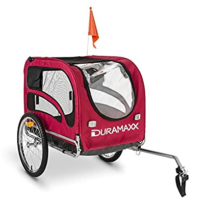 Duramaxx King Rex Dog Trailer - 250 Litre Cargo Space, Up to 40 kg, Powder Coated Steel Tube, Stable, Ideal for Small to Medium Sized Dogs, Folds up for Compact Storage, Black/Red 1