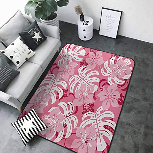 Kitchen Mat for Living Room Luau,Hibiscus Flower with Monstera Leaves Rainforest Plants Fresh Nature Motif,Baby Pink White Ruby 48'x 72' Rubber mat